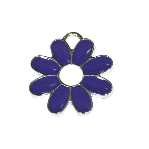 1 x 22*22mm rhodium plated purple daisy with white bud enamel charm - SD03 - CHE1285